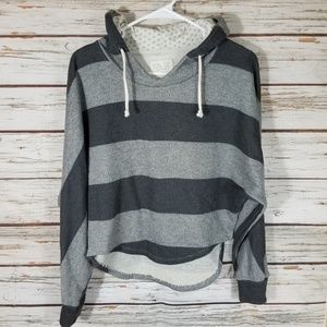 Zara Basic Black and Gray Tee w/ hood, size Medium